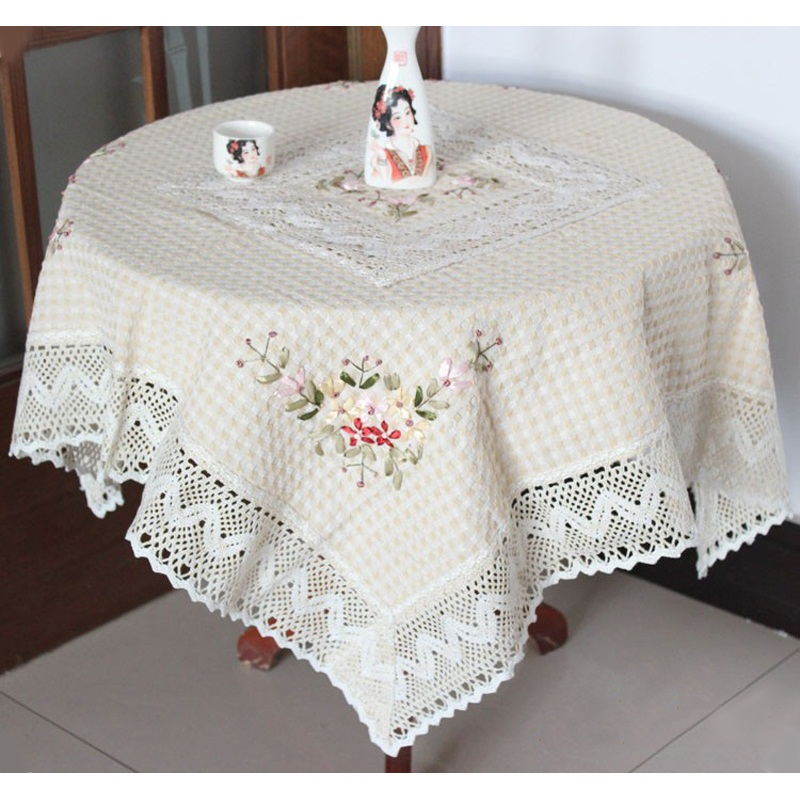 Table Cloth Chinese Handmade Ribbon Embroidery Tablecloth Lacecwork Round Dining Table Covers Home Decor De Mesa Bordada Toalhas