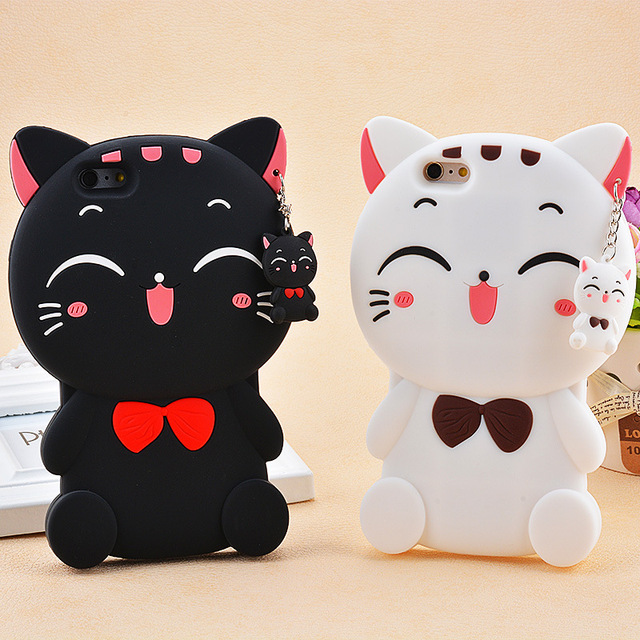 discount 9896b 5037a For iphone 5 SE 6 6S 7 7 Plus Cartoon Animal Lovely Rubber Phone Cases Back  Cover Silicon 3D Cat Bow Case For iphone 5S Case-in Half-wrapped Case from  ...