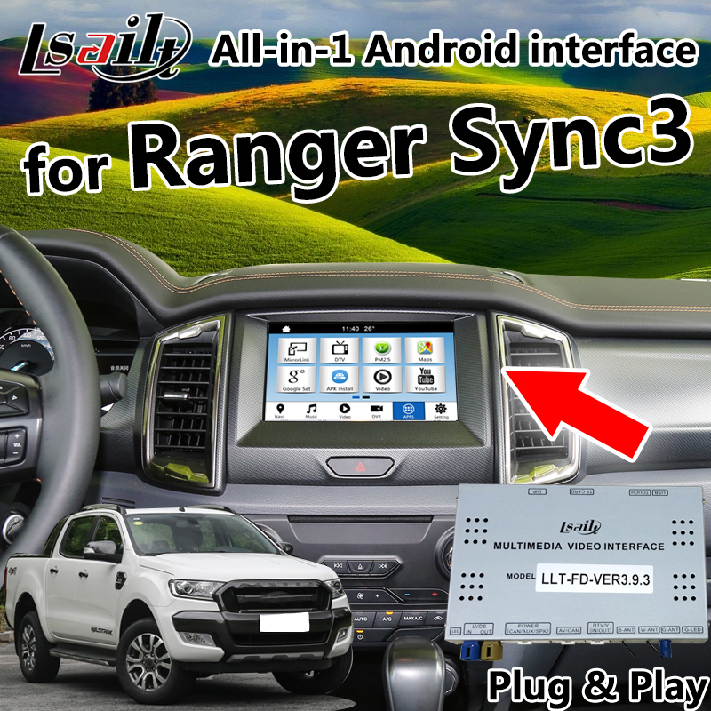 Android 6.0 8.0 Car GPS Navigation Box for Ford Ranger Sync3 integrated LVDS Video Interface & camera interface & mirroring
