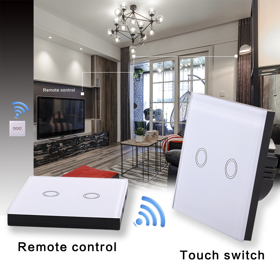 VHOME EU/UK standard touch remote control switch and RF433mhz wall touch remote intelligent Home Furnishing remote control lamp rfm26 wireless transceiver module fsk 433 868 915mhz intelligent remote control home furnishing si4463