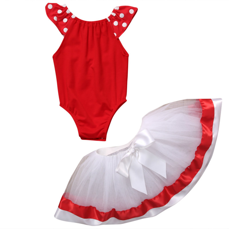 Infant Kids Baby Girl Toddler Cotton Polka Dot Sleeveless Tops Bodysuit+MIni Bowknot Tutu Skirts Clothes Outfit Sunsuit Set 0-3Y