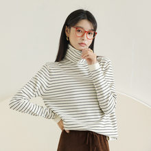 Striped Turtleneck Sweater Women High Neck Knitted Sweaters Black White(China)