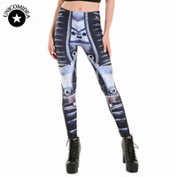 Wholesale Women Leggings Black Grey Digital Printing Robot Leggins Harajuku Fitness Sport Gym Female Legins Fashion