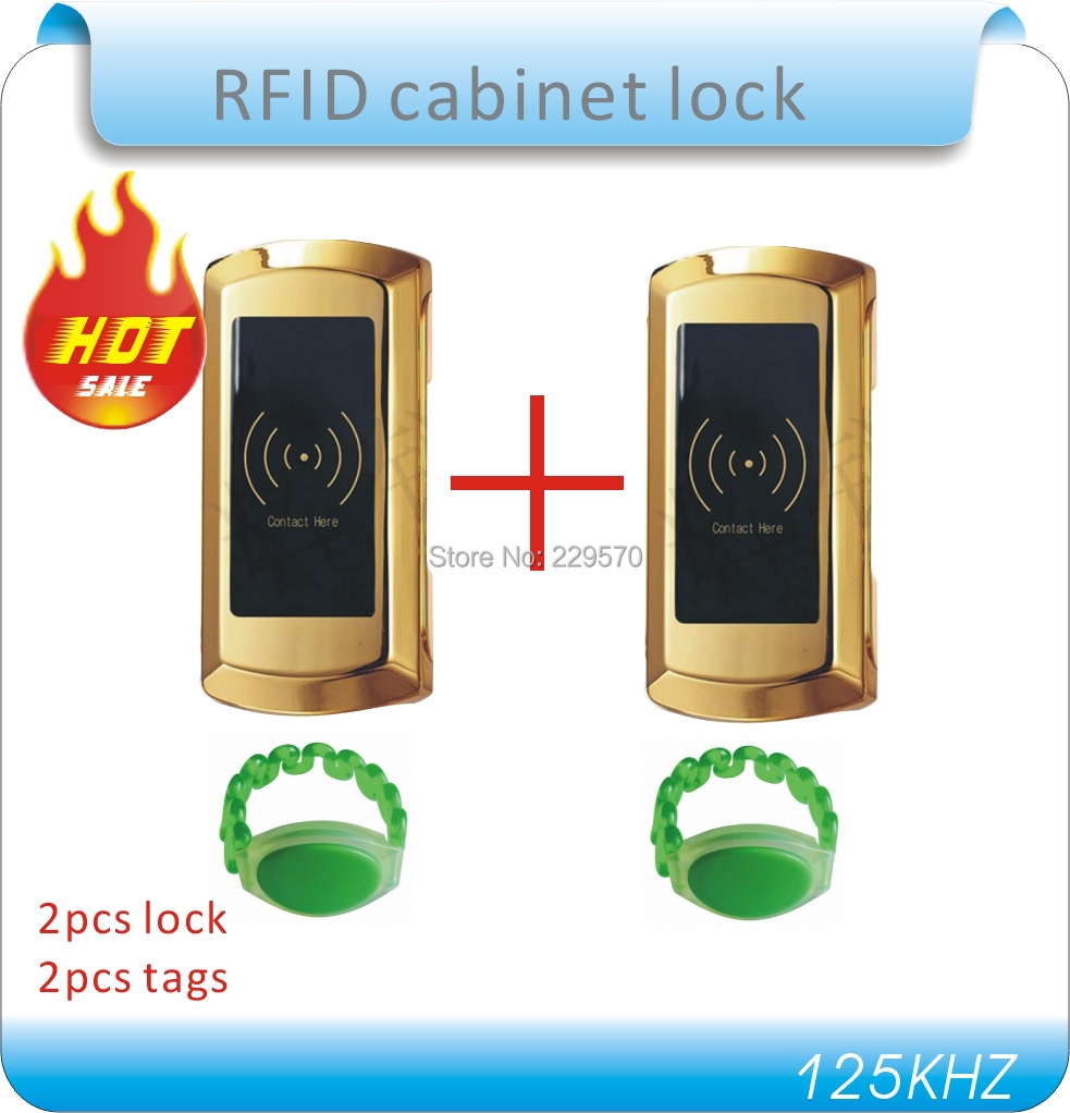 2pcs  RFID 125kHZ Swimming / bathing with electronic lock locker, cabinet locks,125K frequency, +2 card high quality universal metal electronic digital rfid gym magnetic locker lock
