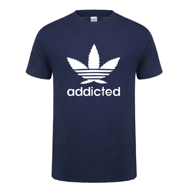 New Addicted White Leaf T Shirt Men Summer Fashion Short Sleeve Cotton Weed Day T Shirts O-neck Funny Mens T-shirt Tops OT-939 2