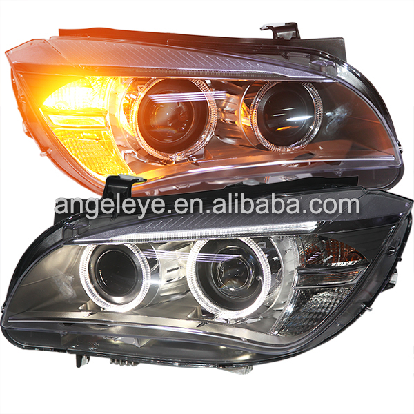 For BMW X1 E84 LED Angel Eyes Head Light with HID KIT for original car no HID 2009-2014 year bmw e53 x5 2w 4000k ccfl green light car angel eyes kit dc 12v 127 6mm 158mm diameter