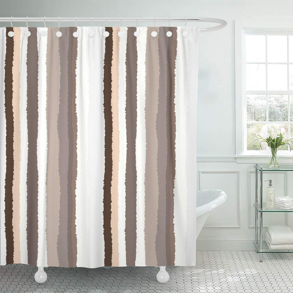 Us 18 4 31 Off Shower Curtain Hooks Gray Stripe Striped Lines Torn Effect Shred Edge Brown Beige Cream White Colored Decorative Bathroom In Shower