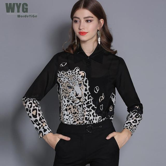e90d4095da18 Chinese Silk Shirts Women 2019 Spring New Wholesale Top Quality Tigers  Leopard Print Long Sleeve Natural Silk Long Sleeve Blouse