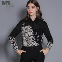 Chinese Silk Shirts Women 2019 Spring New Wholesale Top Quality Tigers Leopard Print Long Sleeve Natural Silk Long Sleeve Blouse