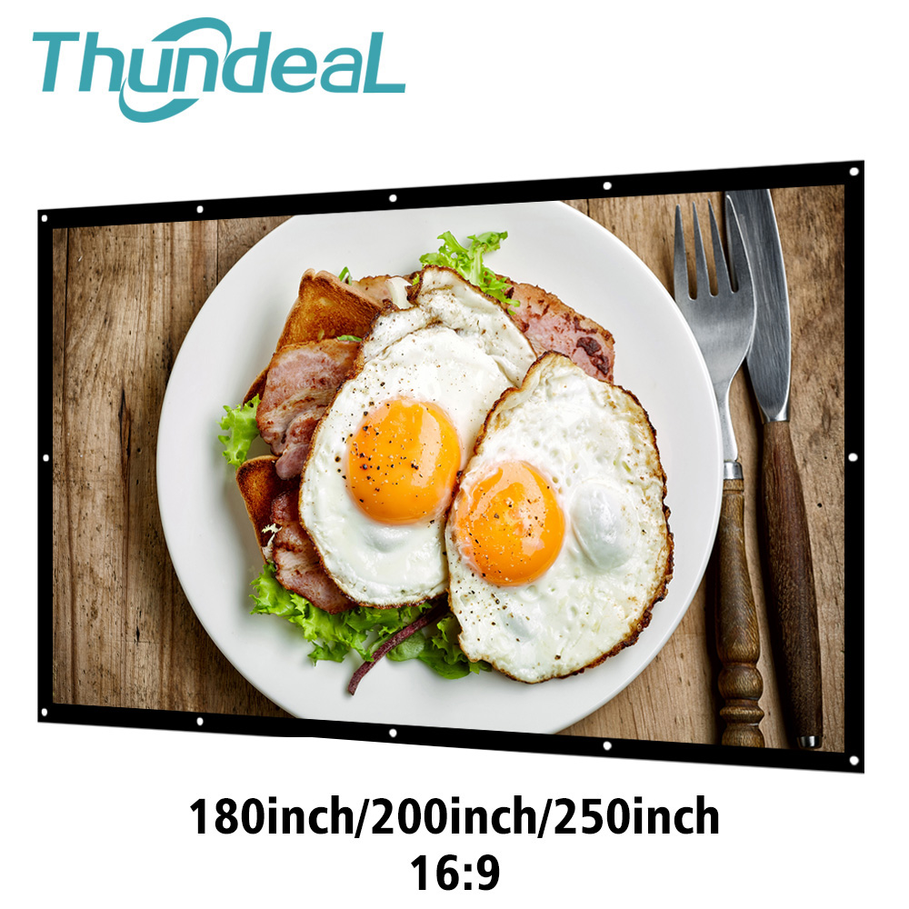 Thundeal Projector Screen Canvas Portable 250inch White Theater 3D Matt 180 200 Home