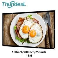 ThundeaL 180 200 250 дюймов проекции проектор Экран матовый холст белый 3D HD дома Театр Шторы Экран настенный Портативный