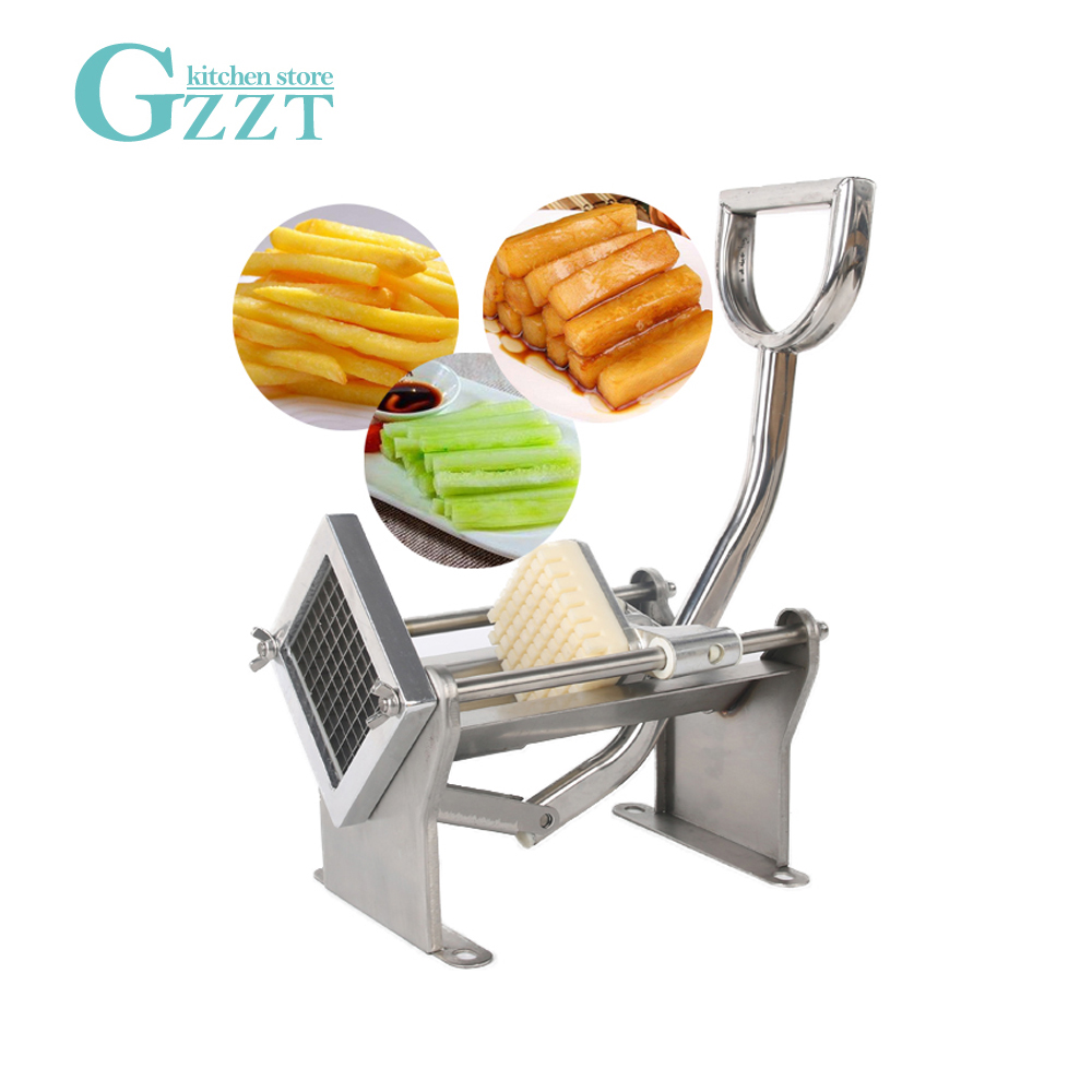 GZZT Potato Cutter French Fry Cutting Chips Vegetable Cutting With 3 Blades Potato Slicer Stainless Steel Manual kitchen Tool