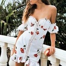 2019 Summer Vintage Sexy Off Shoulder Print Mini Dress Lace Up Ruffle Short Dresses Holiday Beach White Vestidos white ruffle design off shoulder mini dress