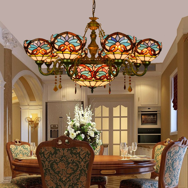 European Baroque Stained Glass E27 110 240v Pastoral