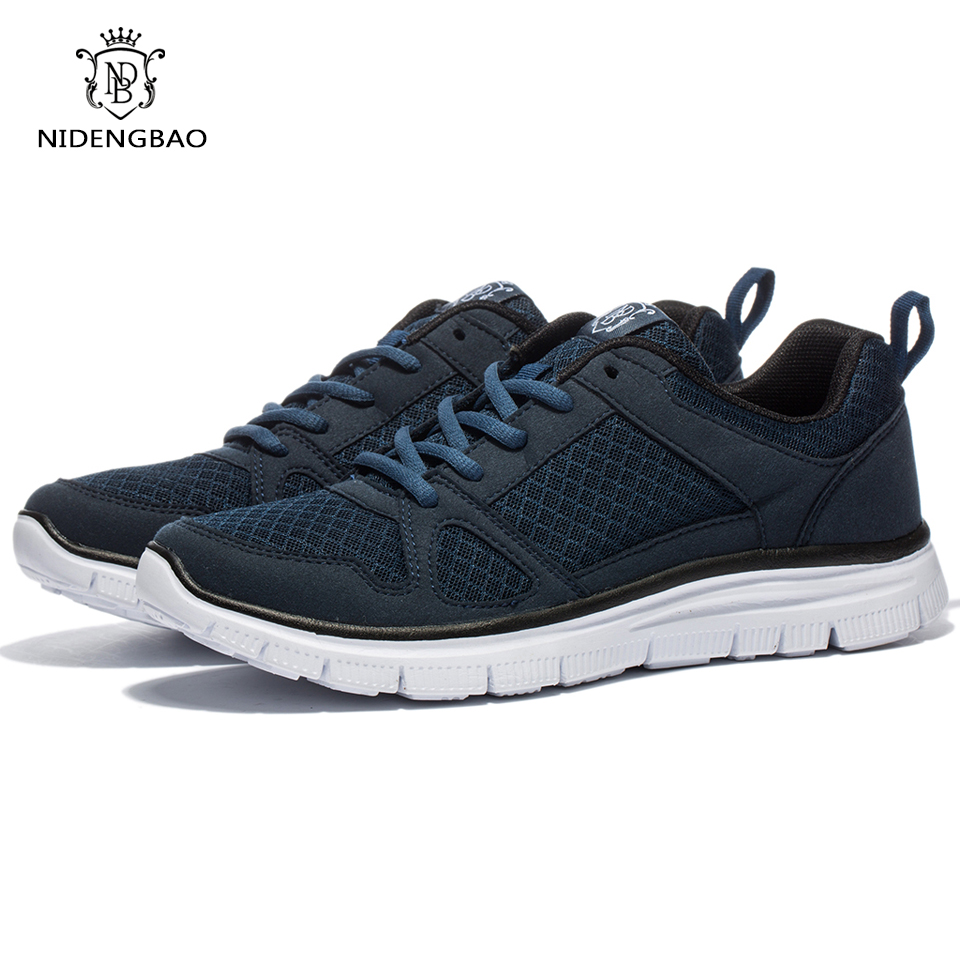 Brand Mesh Casual Shoes Män Light Pustande Herr Sneakers Skor Man Walking Skor Svart Plus Storlek 48
