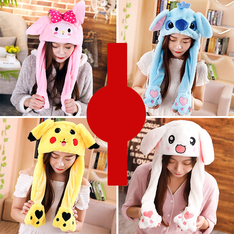 2019 New Cartoon Hats Moving Ears Cute Rabbit Toy Hat Airbag Kawaii Funny Hat For Girls Cap Kids Plush Toy Christmas Gift
