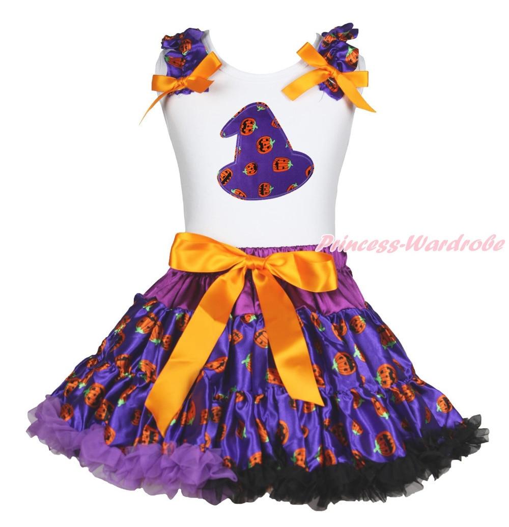 Halloween White Top Shirt Purple Pumpkin Hat Pettiskirt Skirt Girls Outfit 1-8Y MAPSA0846 halloween rhinestone cat white top dusty pink skirt girls cloth outfit set 1 8y mapsa0785