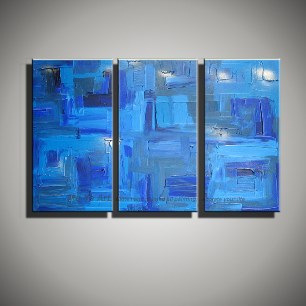 Modern painting canvas abstract 3 piece canvas wall art font b Knife b font blue oil