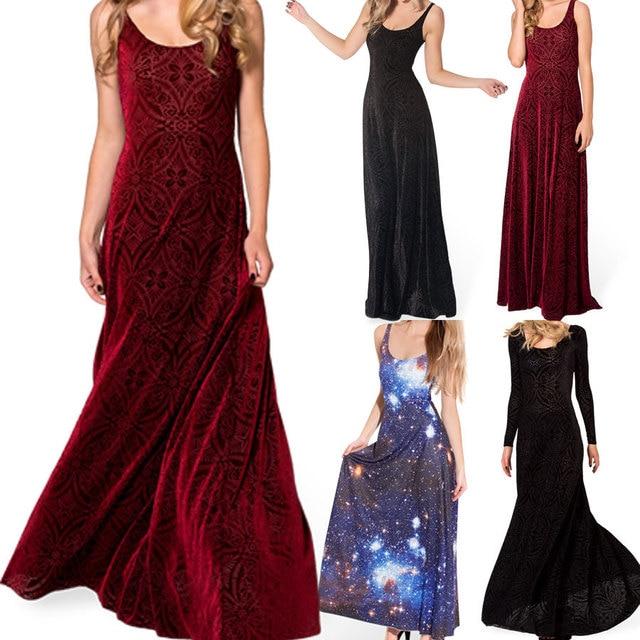2015 Winter Dress Women Gown Long Elegant Prom Dresses Burned Velvet Maxi  Dress Long Dresses Plus 52881c7fd