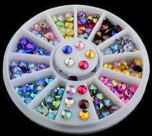New Hot 3D Sharp Nail Art Rhinestones Glitters Nail Art Pearls Beads Rivet Metal Decoration AB Colors Rhinestone + Wheel ZP-4