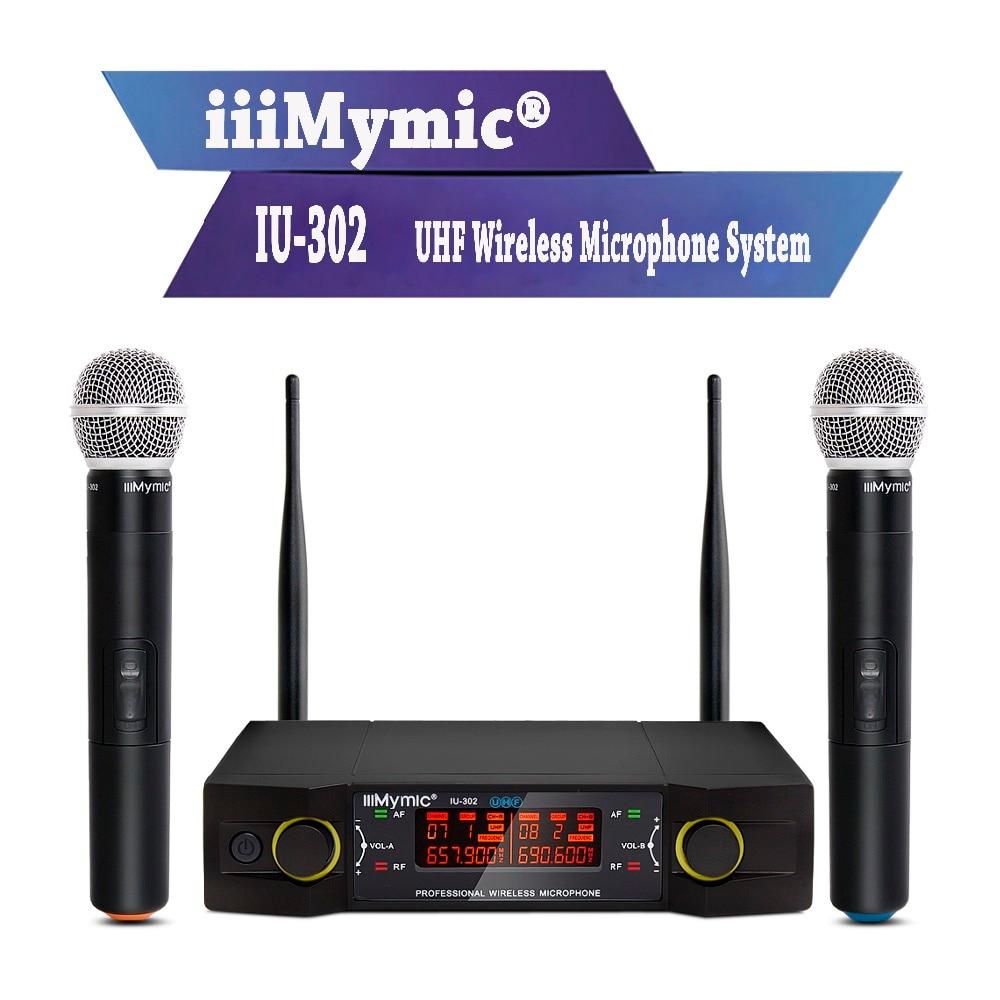 IiiMymic IU-302 UHF Système de Micro Sans Fil avec Écran Double Canal 2 Micro Main pour Karaoké Discours D'église Réunion