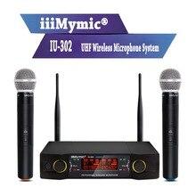 IiiMymic Sistema de micrófono inalámbrico para Karaoke, IU 302, UHF, 600 700MHz, conferencia en Iglesia, doble canal, 2 micrófonos de mano