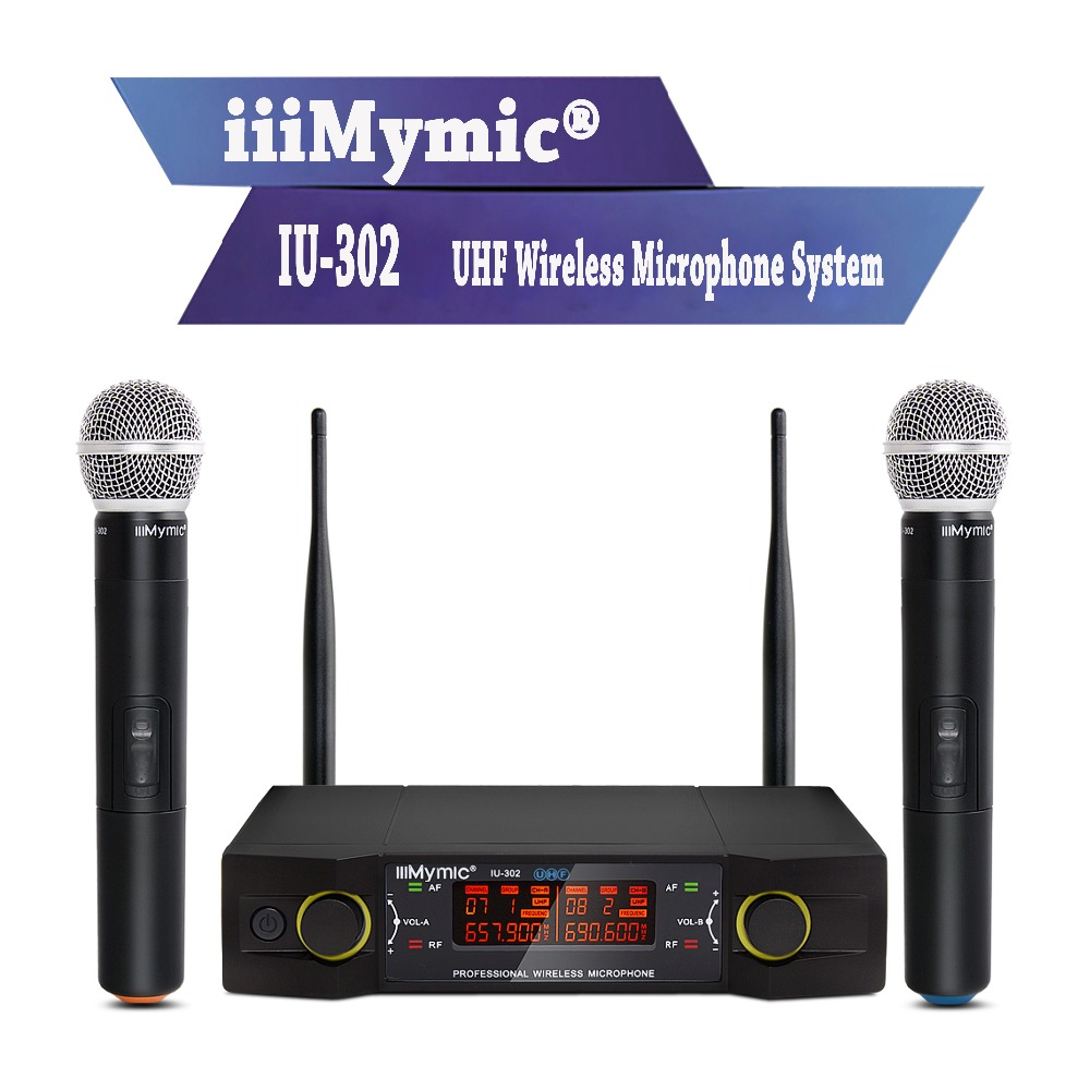 iiiMymic IU-302 UHF Wireless Microphone System with Screen Dual Channel 2 Handheld Mic for Karaoke Church Speech Meeting ur6s professional uhf karaoke wireless microphone system 2 channels cordless handheld mic mike for stage speech ktv 80m distance