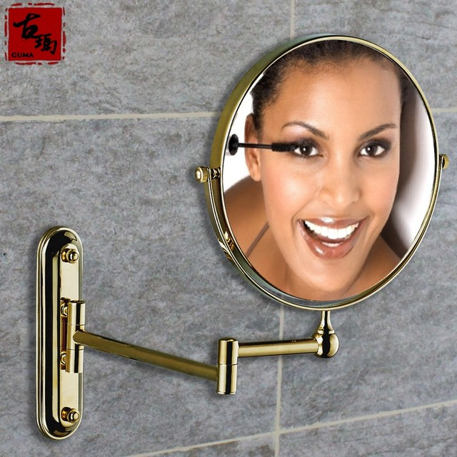 Gold copper bathroom beauty makeup mirror fashion 1958 retractable folding double faced mirror new arrival bathroom accessories