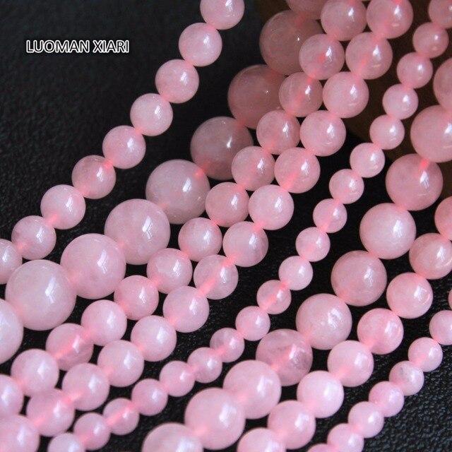 Atacado Natural Rose Quartzo Rosa Contas de Pedra Para Fazer Jóias Pulseira DIY Colar 4mm 6mm 8mm 10mm 12mm Vertente 15.5''