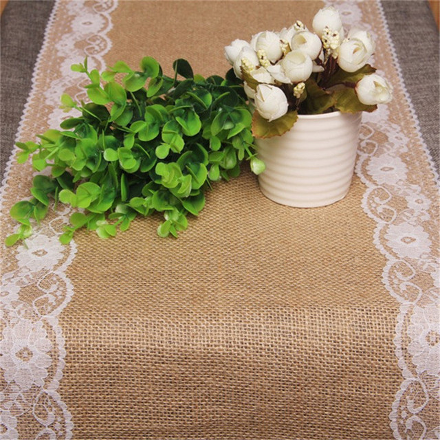 Vintage Burlap Lace Jute Table Runner Original Ecology Style White Natural Country Party Wedding