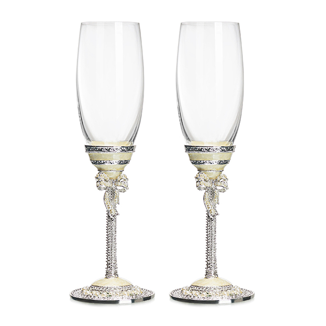 Wedding Champagne Gl Silver Flutes Lead Free Crystal Wine Gles Gift Set