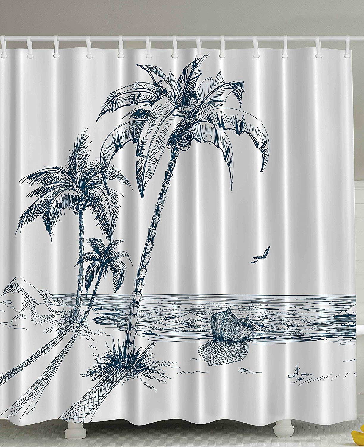Island Shower Curtain Sketch Art Of A Tropical Seaside With Palm Trees Fishing Boat Flying Birds Fabric Bathroom Decor Set