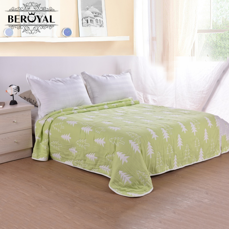 2017 MMY New Arrival Spring/Autumn Cotton Six Layers Of Muslin Sheets Twin Size Leaves Throw Blanket Breathable Air Conditioning