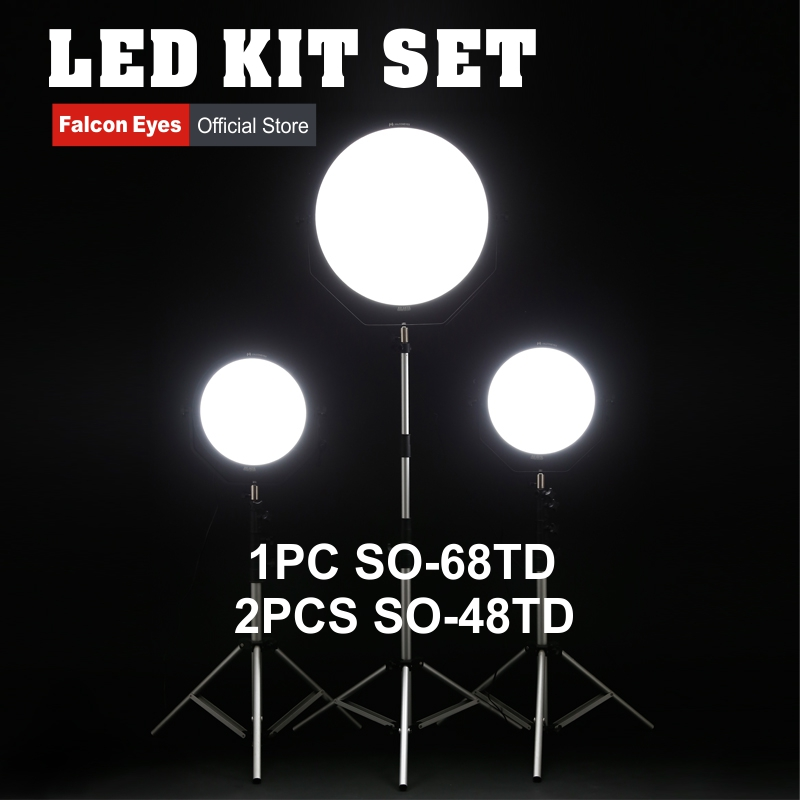 Falcon Eyes 48W 68W LED Panel Kit Set Dimmable High CRI95 3000-5600K Lighting Photo Video Film Continuous Light SO-48TD SO-68TD new bi color 4ft 4 bank led kinoflo 3200k 5600k dimmable daylight with ballast for film lighting high cri for broadcasting