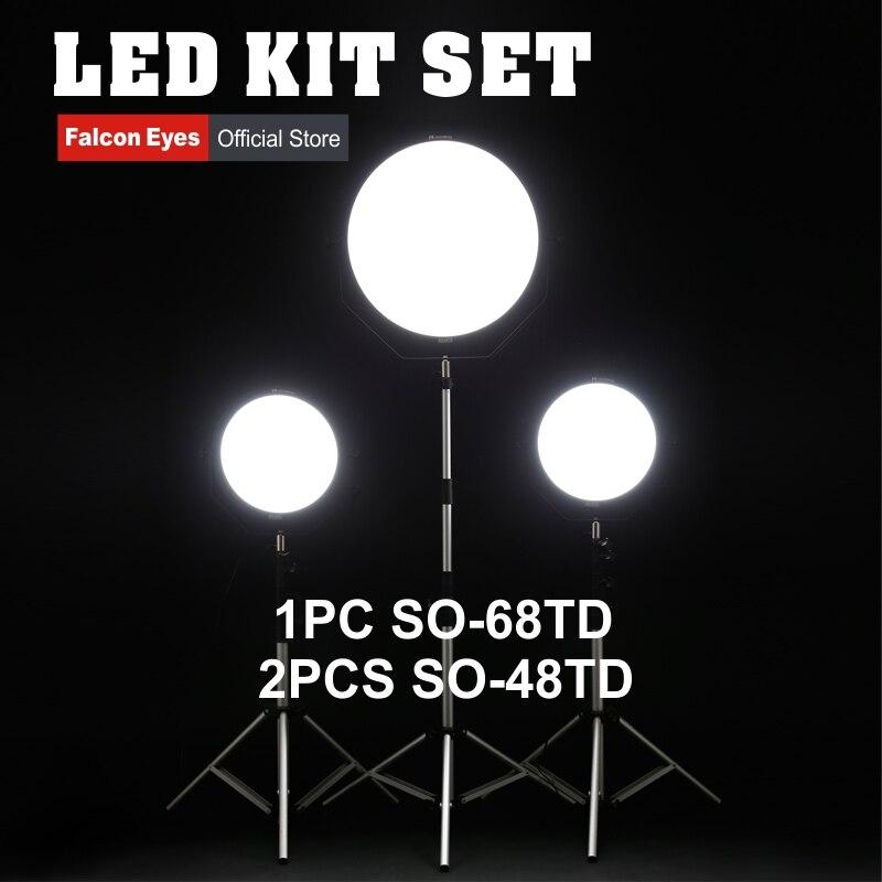 Ojos Falcon 48 W y 68 W LED Fotografia lámpara del Panel Kit Bi-color iluminación continua para la película /foto/Video/película con soporte de la luz