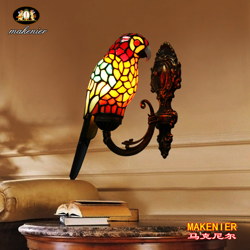 Makenier Vintage Tiffany Style Stained Glass Red Parrot Shade Wall Lamp Fixture