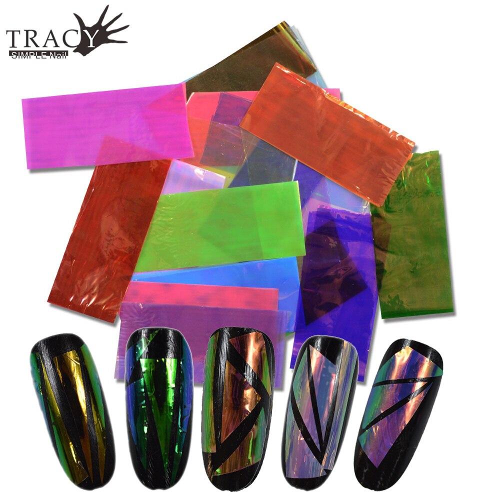 Neue 20 Verschiedene Farbe Gebrochen Glas Designs Nail art DIY ...