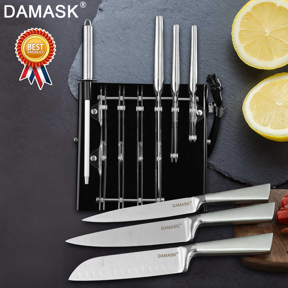 Damask Kitchen Knives Set 3Cr13 Stainless Steel Knife Set Fruit Utility Santoku Bread Slicing Chef Meat Cleaver Kitchen Tools