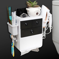 Multifunctional Wall Mound Storage Box Organizer Bathroom Shelf Toothbrush Holder Hair Dryer Rack Toliet Paper Box