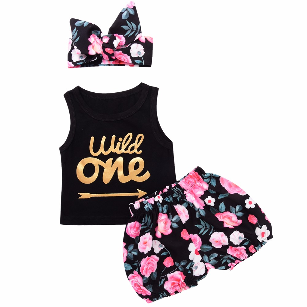 3pcs Set Infant Baby Girl Kläder Wild One Arrow Letter Print Vest Top Floral Shorts Bottom Headband Outfits Kid Girls Clothes