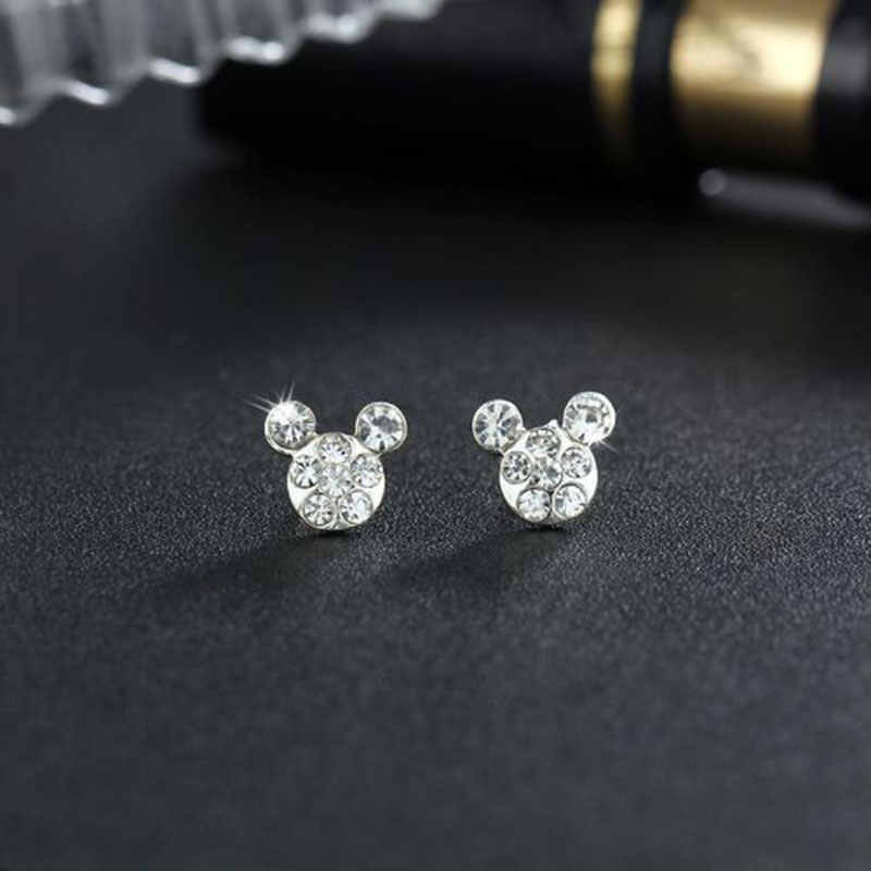 Silver Romantic Round Mickey Mouse Earring Female Charm Stud Ear Women Jewelry Girls Kid Birthday Gift Cute Animal Earrings