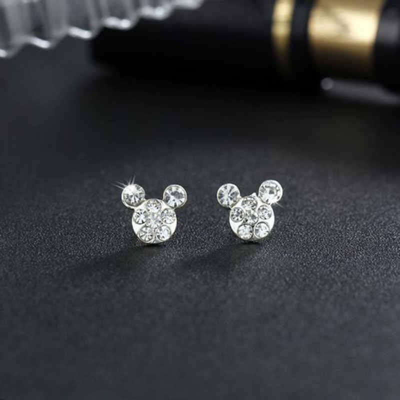 Silver Romantic Round Mickey Mouse Earring Female Charm Stud Ear Women Jewelry Girls Kid Birthday Gift Cute Animal Earrings