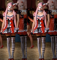 Free Shipping New 2014 Harley Quinn Fantasia Halloween Costumes For Women