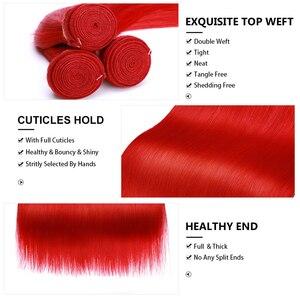 Image 4 - Tissage naturel brésilien Non Remy rouge JRX Hair, mèches de cheveux lisses, pleine couleur de cheveux, Extension de cheveux, offre en lots de 1/3/4
