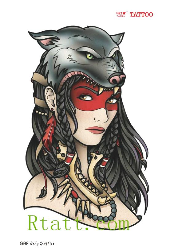 393a002ea Body Tattoo 3D Three-dimensional Sexy goddess Wolf Head Temporary tattoo  paste is waterproof