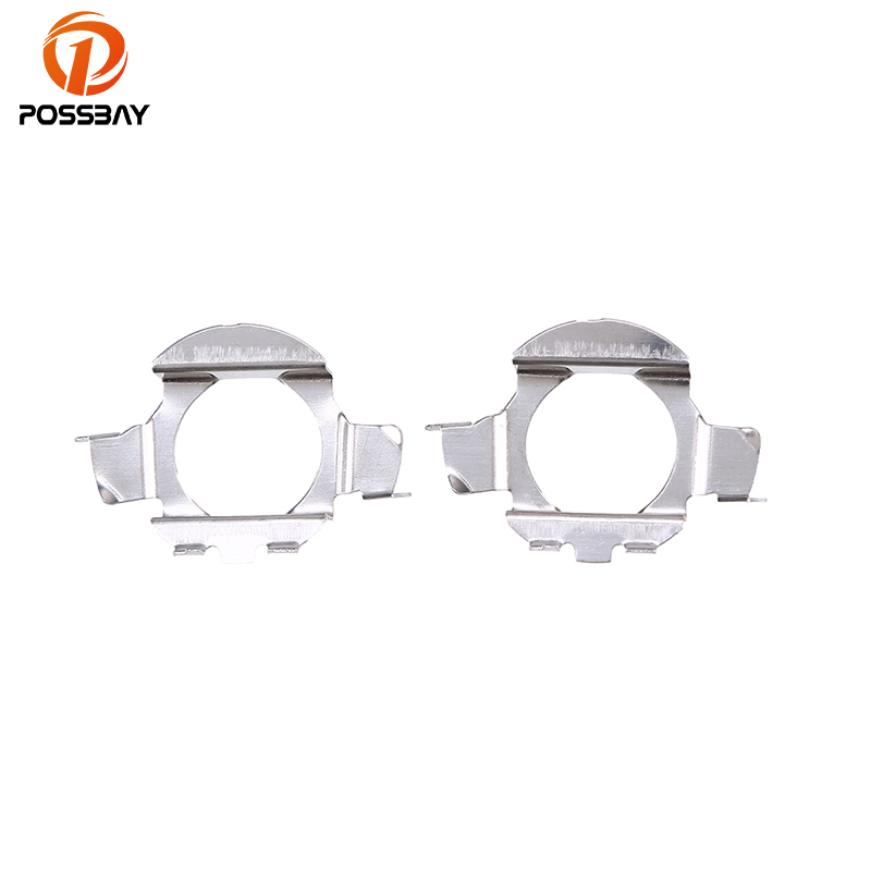 POSSBAY 1 Pair Car H7 HID Xenon Lamp Bulb Adapter Holders Base Fit For VW Bora Silver Metal Light Bracket