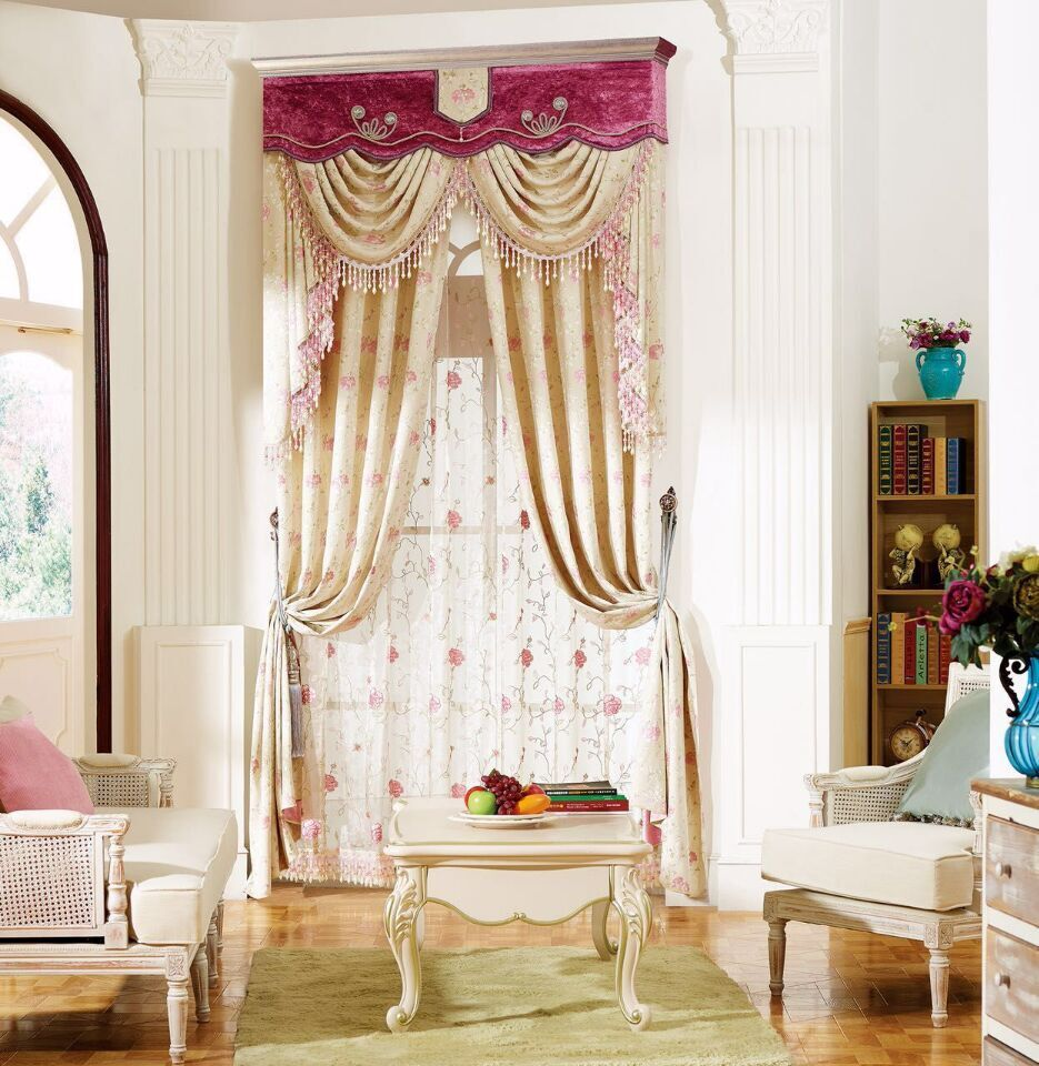 Pink European Luxury Window Blackout Curtain for Living Room Bedroom ...