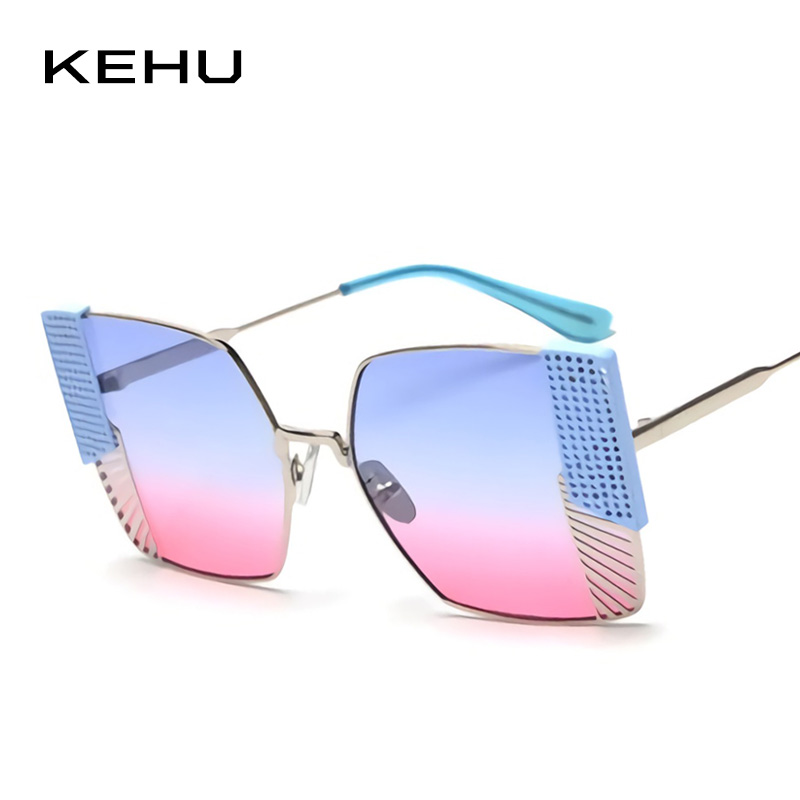 KEHU Women Sunglasses Square Sun Glasses Brand Designer Designing Metal Eyebrows Eyewear Oversized Sunglasses UV400 K9672