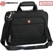 Swisswin herren schweizer aktentasche tasche getriebe business handtasche hohe qualität messenger taschen laptop umhängetasche für Macbook HP sw9723