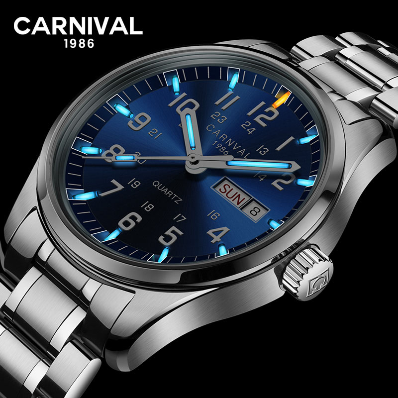 Carnival luxury brand Tritium T25 luminous military watch men Switzerland quartz business watches full steel waterproof clock